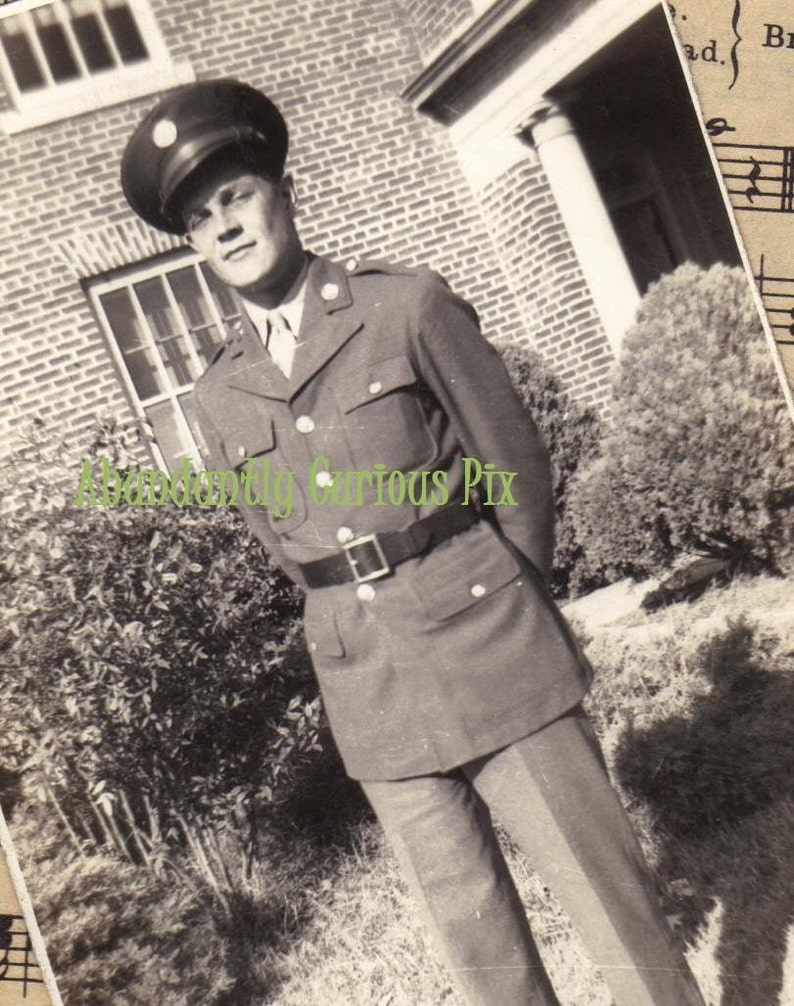 black and white military photo vintage original snapshot vintage soldier photo