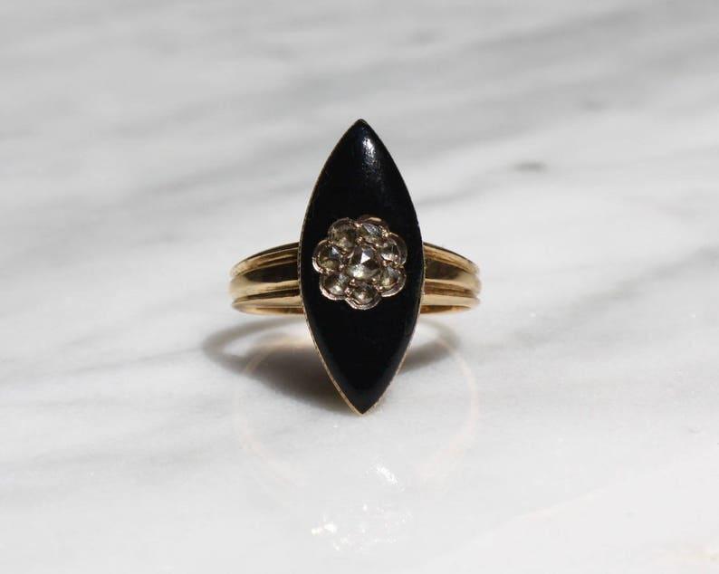 adbdcd4732b86 GEORGIAN DIAMOND MOURNING black enamel rosecut .70 ctw 18k gold antique  vintage navette ring circa 1780 size 5.75