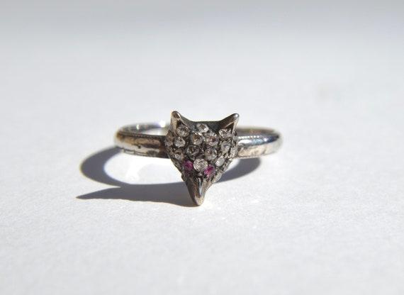 Antique Art Deco 1920s Diamond Ruby Fox 18 Karat W