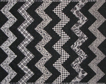 Art Quilt Wall Hanging - Black and White ZigZag