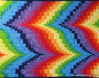 Quilted Bargello Wall Hanging in Brilliant Rainbow Colors