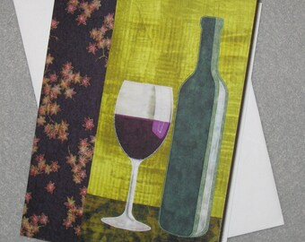 Art Quilt Note Card - Bottle of Red