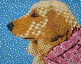 """Quilted Dog Portrait - """"Golden Boy"""""""