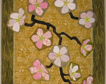 """Art Quilt - Cherry Blossoms on Gold Background"""" - 27"""" x 38"""""""