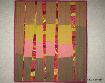 """Abstract Modern Quilt - Strips, Stripes and Tiny Pieces - 19.5"""" x 22"""""""