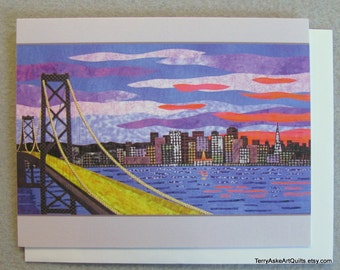 Art Quilt Note Card - San Francisco Skyline at Sunset