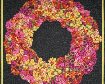 "Art Quilt Wall Hanging - ""Calypso Colors"" Floral Wreath"