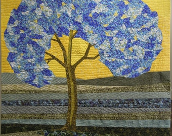 """Art Quilt - """"Even Trees Get the Blues"""" - 48 x 48 inches"""