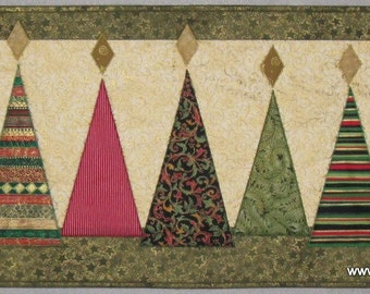Modern Christmas Trees Quilted Wall Hanging or Table Runner