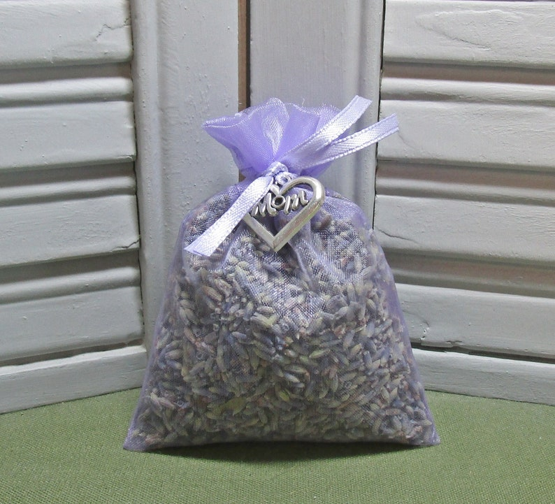 Set of 4 Lavender Sachets made with Silver Organza Bags