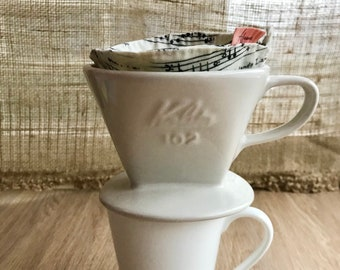 Cotton Coffee Filter Re-usable for Pour-over Coffee Maker - White Musical Print Fabric - Size #2 (2 cups)