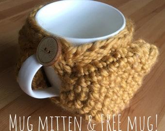 Coffee Mug Mitten - Yellow Chunky Knit & FREE 12 oz Mug Included (370ml)