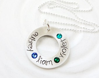 Hand Stamped Mother's Birthstone Necklace - Personalized Jewelry  - Gift for Her - Mother's Necklace - Birthstone Washer Necklace