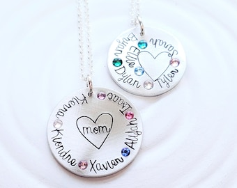 Mother's Necklace - Birthstone Heart Necklace - Gift for Mom - Gift for Grandma - Name Necklace - Birthstone Jewelry - Mother's Day Gift