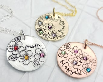 Birthstone Flower Necklace - Personalized Mother's Jewelry - Grandmother's or Mother's Family Necklace - Mother's Day Gift - Gift for Her