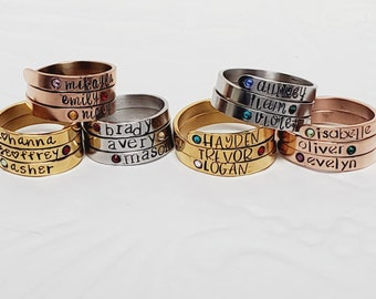 Birthstone Wrap Rings - Three Name Mother's Wrap Ring - Gold, Rose Gold or Silver Stainless Ring - Mother's Ring - Gift for Mom