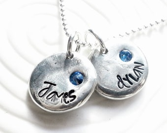 e58766f876881 Mother s Birthstone Necklace - Hand Stamped