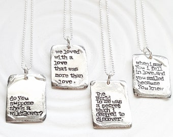 Vintage Page - Large Literary Quote Necklace - Hand Stamped Personalized Jewelry - Custom Quote Necklace - Personalized Text Necklace