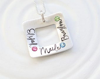 Square Washer Necklace - Name and Birthstone Necklace - Mother's Name Necklace - Grandmother Necklace - Mother's Day Gift - Gift for Grandma