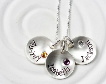 Mother's Necklace - Sterling Silver Hand Stamped Personalized Jewelry - Grandmother's Necklace - Birthstone Name Charm - Mother's Day Gift