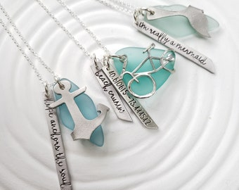 Personalized Sea Glass Necklace - You Pick the  Saying or Coordinates - Embrace the Sea Collection