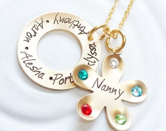 Grandmother Necklace - Birthstone Flower Necklace - Mother's Necklace - Child's Name Jewelry - Personalized Jewelry - Mother's Day Gift