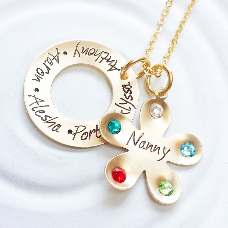 d0d32cbdaafa6 Grandmother Necklace - Birthstone Flower Necklace - Mother's Necklace -  Child's Name Jewelry - Personalized Jewelry - Mother's Day Gift