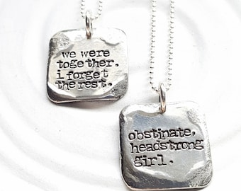 Vintage Page - Small Square Literary Quote Necklace - Hand Stamped Personalized Jewelry - Custom Quote Necklace - Personalized Text Necklace