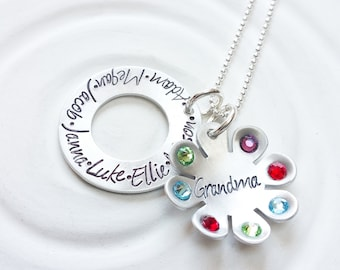 Grandmother's Necklace - Birthstone Flower Necklace - Mother's Necklace - Children's Name Jewelry - Mother's Day - Gift for Mom