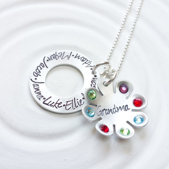 000fe06df4793 Grandmother's Necklace - Birthstone Flower Necklace - Mother's Necklace -  Children's Name Jewelry - Mother's Day - Gift for Mom