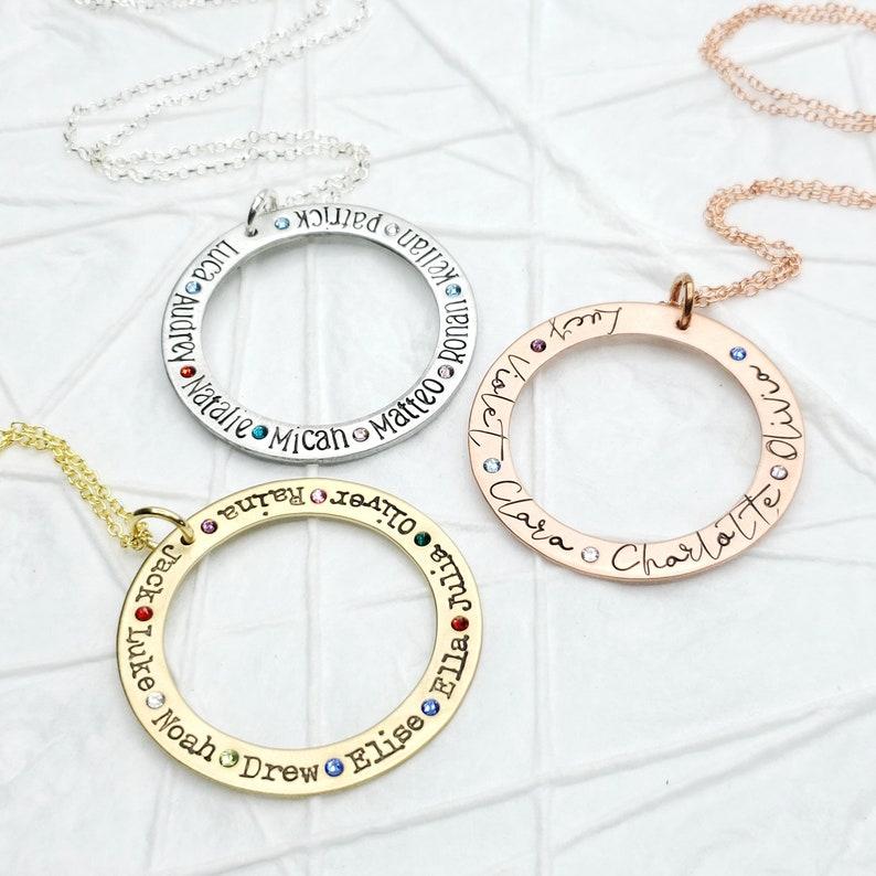 912e17c216af2 Mother's Necklace - Birthstone Washer Necklace - Personalized Birthstone  Washer Necklace - Grandmother's Necklace - Mother's Day Gift