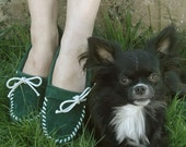 Plain Jane Moccasin Forest Green - Women's Sizes 5-11