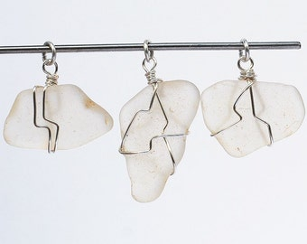 wire wrapped recycled glass pendant. Sea Glass Pendants- Silver \u0026 White Beach Glass Pendants, Jewelry,  Seaglass Pendant, Wire Wrapped Sea Glass, Recycled Pendants Pendant S