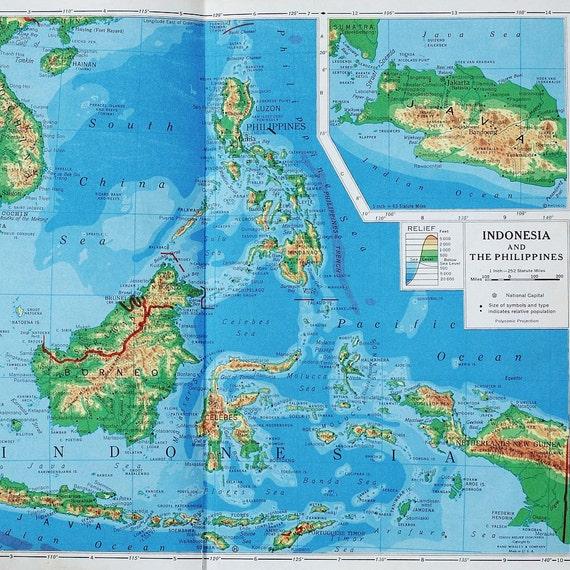 Indonesien Karte.Jahrgang Indonesien Karte Vintage Karte Von The Philippines 1940er Jahren Sudostasien Reliefkarte Perfekt Fur Wanddekoration Oder Collage