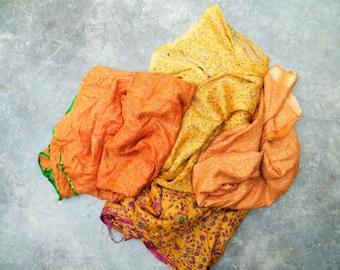 Second Hand Silk Sari Fat Quarters- 42 sunshine