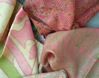 Second Hand Silk Sari Fat Quarters-200 Putty pink