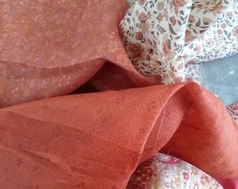 Second Hand Silk Sari Fat Quarters- 108 orange and white