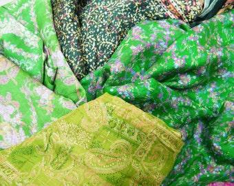 Second Hand Silk Sari Fat Quarters- 38- Forest Greens