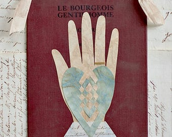 Valentine, French Document, Book Cover, Vintage Ribbon, The Bourgeois Gentleman, Heart in Hand, Wedding, Engagement, Anniversary, Friend