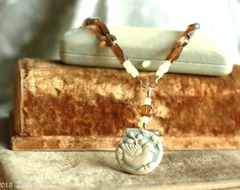 Dove of Peace, Bird Pendant, Yellow Jasper, Amber Glass Beads, Hand Forged Sterling Silver Clasp