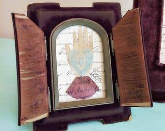 Antique Velvet Frame with Doors, Heart in Hand Love Token, French Document, Anniversary, Wedding, Engagement, Friendship, Valentine