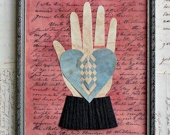Valentine, With This Ring, Papercutting, Heart in Hand, Vintage Frame, Wedding, Engagement, Anniversary, Friend