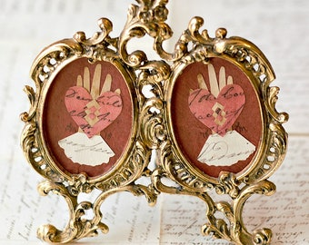 Valentine, French Document, The Two of Us, Love Token, Papercutting, Heart in Hand, Wedding, Engagement, Anniversary, Friends