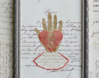Valentine, Better Late Than Never, Papercutting, Heart in Hand, Vintage Frame, Wedding, Engagement, Anniversary, Friend