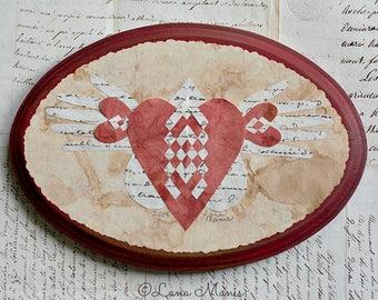 Valentine, French Document, Love Abundantly, Heart in Hand, Wedding, Engagement, Anniversary, Friend