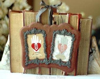 Valentine's Day Wedding Anniversary Gift - Heart in Hand - Antique Velvet Double Frame Love Token Papercut Art