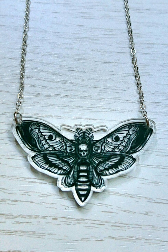 Deaths Head Moth Necklace, Nature Lover Necklace, Horror Jewellery, Entomology Gift, Hawk Moth Necklace, Alternative Bridal Wear