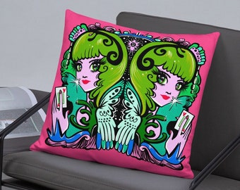 Gemini Retro Kitsch Astrology Zodiac Pillow -Magical Illustration - Choose your size!