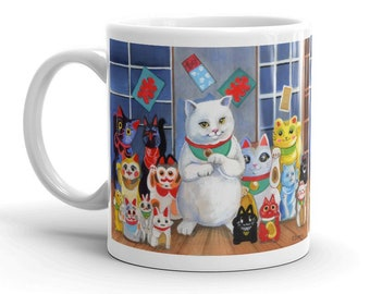 CERAMIC MUG! With Lucky Cats Kawaii Neko Illustration