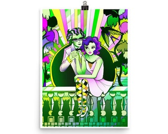 Emerald City Romance Art Deco Retro style Illustrated Poster- Choose your size!